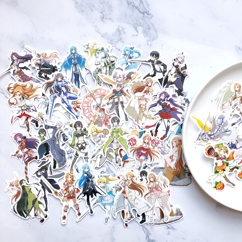 50Pcs/Bag Anime Girl Stickers Sword Art Online Scrapbooking Stickers Adhesive Sticker Asna Kirito Sticker For Phone Diary Laptop