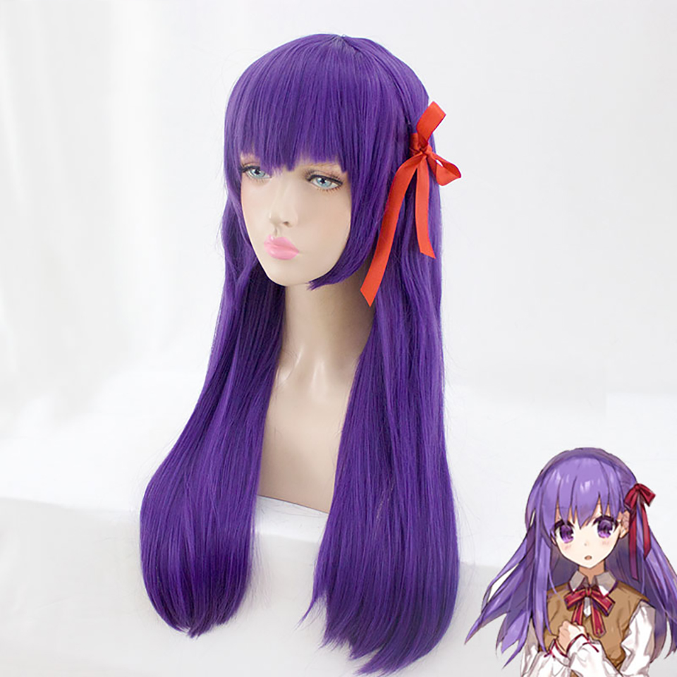 DIFEI Cosplay Halloween Party Fate/stay night Sakura Matou high temperature resistant fiber synthetic purple long wig realistic