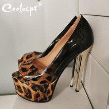 цена на Coolcept Plus Size 35-47 Women Pumps Shoes Sexy Leopard Print Thin High Heels Shoes Women Fashion Peep Toe Slip On Footwear