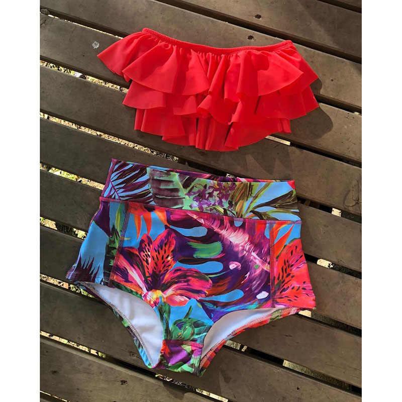 Sexy podwójne marszczony strój bikini 2019 Top solidne dno stroje kąpielowe z nadrukiem kobiety strój kąpielowy bikini z wysoką talią kobiet Biquini