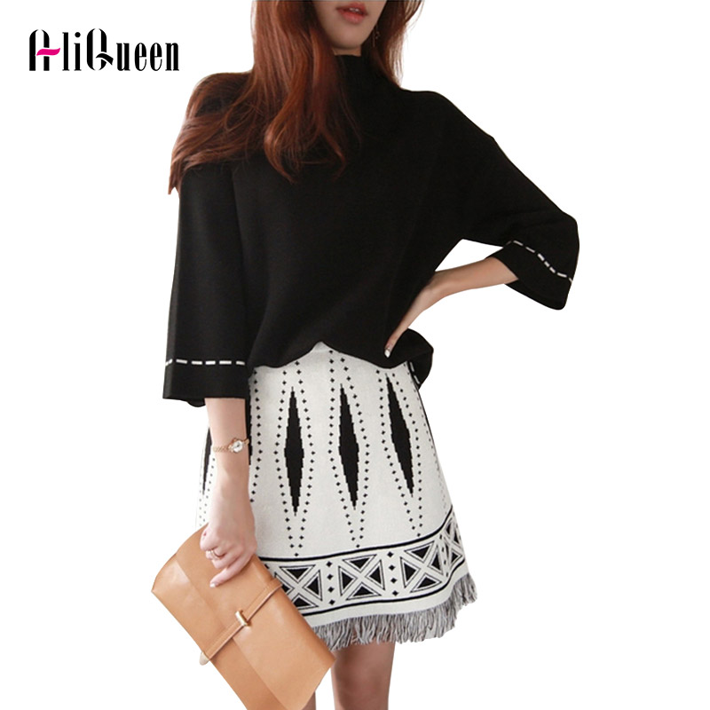 2019 New Autumn Winter Women TURTLENECK Tassel Tops +A-Line Skirt Knit 2 Piece Sets Ladies Autumn Casual Blouses Knitted Suits