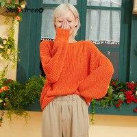 Samstree Black Solid Glitter Minimalist Style Pullovers Women Sweater 2019 Autumn Orange Bishop Sleeve Casual Female Tops