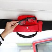 Sansour Car Roll Bar Grab Handle with Sunglasses Holder Storage Bag Armrest Pouch Bag