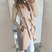 Umeko Casual Women Trench Coat Loose Long Sleeve Turn-down Collar Draped Open Stitch Long Trench Solid Color Femme Cardigan