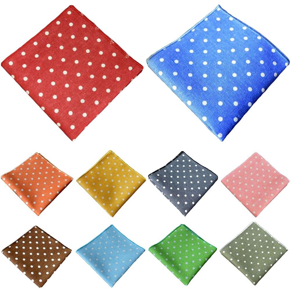 Men's Suit Pocket Square Wedding Party Men White Polka Dots Handkerchief Hanky YXTIE0324