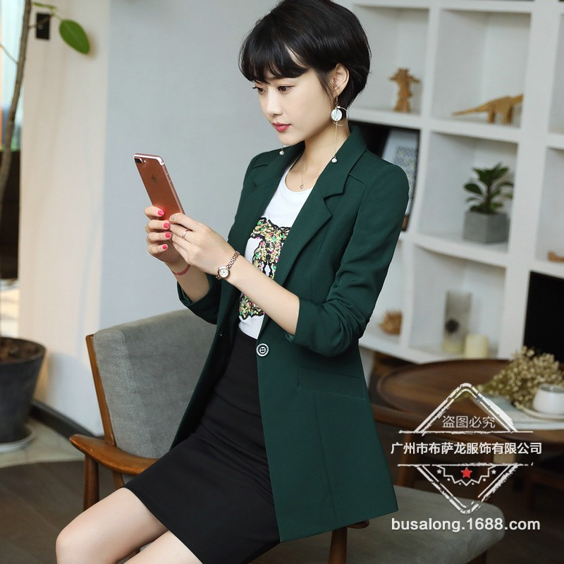 2020 new casual high quality ladies blazer Fashion solid color mid-length jacket Office small suit feminine Interview clothing