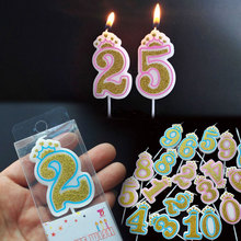 Number Birthday Candles 1 2 3 4 5 6 7 8 9 0 Gold Sliver Kids Birthday Candles for Cake Party Supplies Decoration Cake Candles