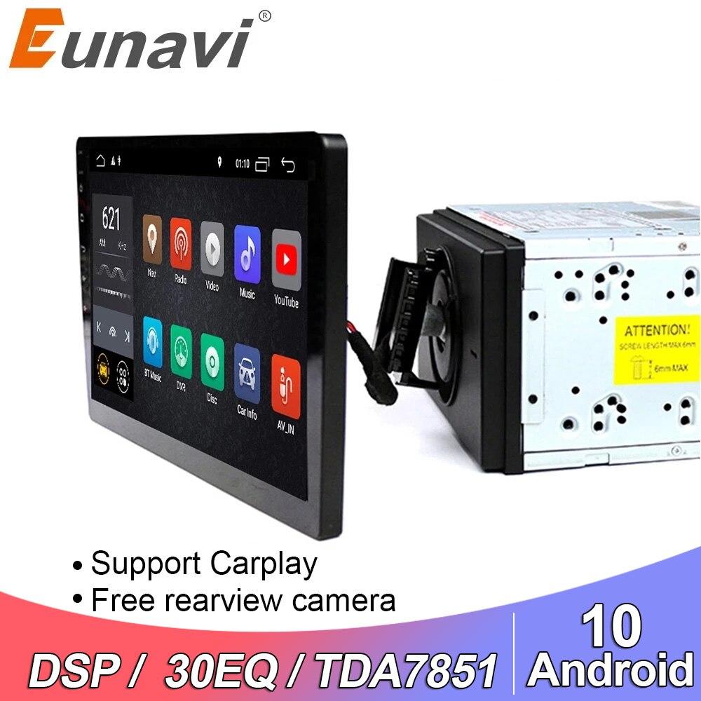 Eunavi 2 din 10,1 дюймов DSP TDA7851 Универсальный Android 10 Автомобильный мультимедийный радио плеер 2din GPS сенсорный экран Bluetooth wifi без DVD