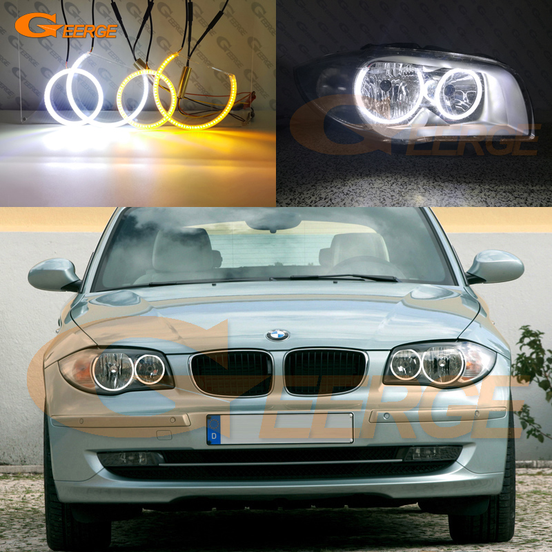 For <font><b>BMW</b></font> 1 Series E81 E82 E87 E88 Halogen <font><b>Headlight</b></font> Excellent Ultra bright Dual Color Switchback led angel eyes drl turn signal image