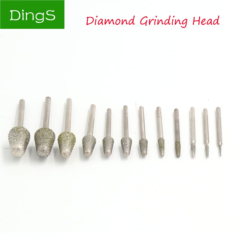 5pcs Bullet Abrasive Diamond Grinding Head Grinding Needle Bits Burrs Set For Jade Metal Stone Dremel Rotary Tool Accessories