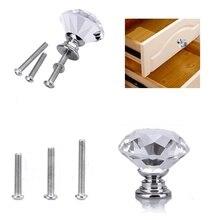 цена на 8 Pcs Crystal Handle Glass Drawer Cabinet Single Hole 30mm Manufacturer Wholesale Modern Fashion Furniture