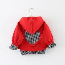 Куртки для маленьких девочек; детская ветровка на молнии с капюшоном; детское клетчатое пальто в форме сердца; Верхняя одежда для малышей; толстовки для девочек