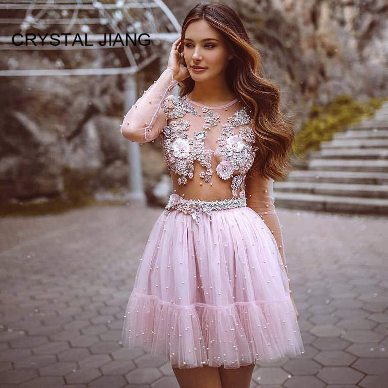 Hot Sale 2019 Illusion Crystal Beaded   Cocktail     Dresses   Custom made Short Pink Pearl Lace luxury Mini   Cocktail   Party Gown