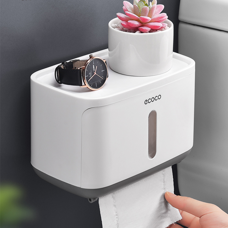 Image 2 - Waterproof Toilet Paper Holder Creative Plastic Bathroom Toilet Roll Holder Wall Mounted Kitchen Paper Towel Holder 2019 Newest-in Paper Holders from Home Improvement