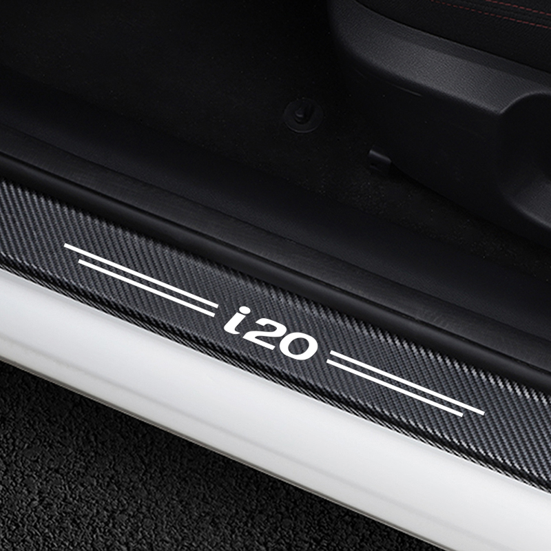 4PCS Car Door Plate Scuff Protection Door Step Decoration Stickers For Hyundai i20 Carbon Fiber Door Sill Protector Accessories-in Car Stickers from Automobiles & Motorcycles