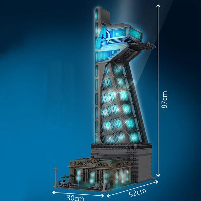 New 5883 PCS 55120 Hero Tower  Iron Tower Man Base Model with LED Lights  Building Block Bricks Toys Birthday Christmas Gifts 2
