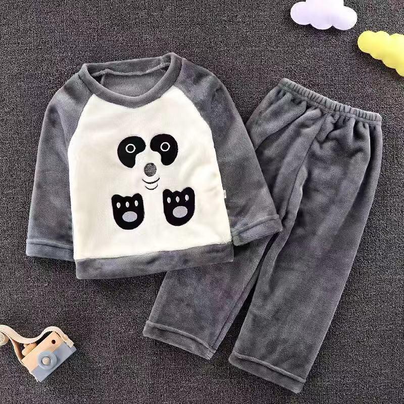 1-12T Autumn winter children's flannel   pajamas   baby boys girls baby thick rabbit bunny cute soft   sets   teen boy child fleece   sets
