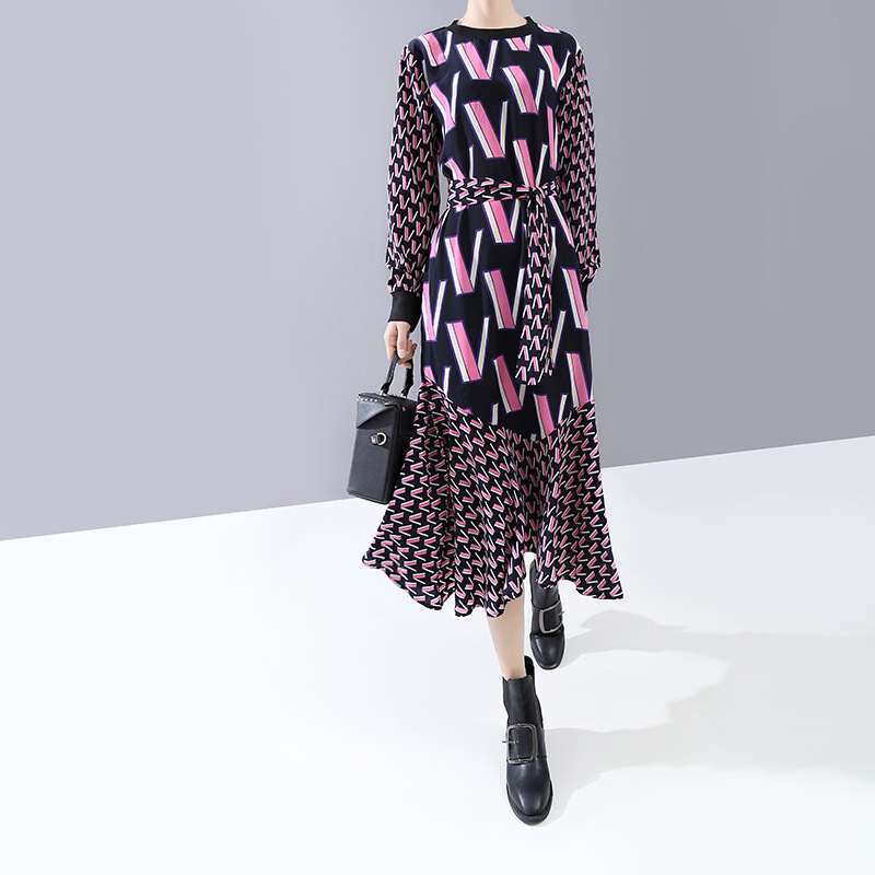 [EAM] Women Pattern Print Split Temperament Dress New Round Neck Long Sleeve Loose Fit Fashion Tide Spring Autumn 2020 1N250 3