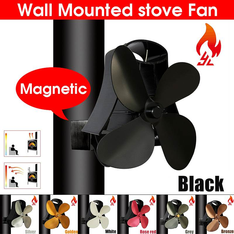 Wall Mounted Black Fireplace 4 Blade Heat Powered Stove Fan Komin Log Wood Burner Eco Quiet Fan Home Efficient Heat Distribution