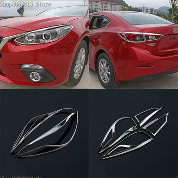 Auto Accessories Fit for Mazda 3 Axela Sedan 2014 2015 2016 ABS Chromed Headlights&taillight Molding Trim Covers