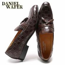 Роскошные мужские мокасины в итальянском стиле; Обувь из натуральной кожи; Модные клетчатые принты на шнуровке черного и коричневого цвета для свадьбы; Обувь для офиса; На каждый день; Мужские модельные туфли