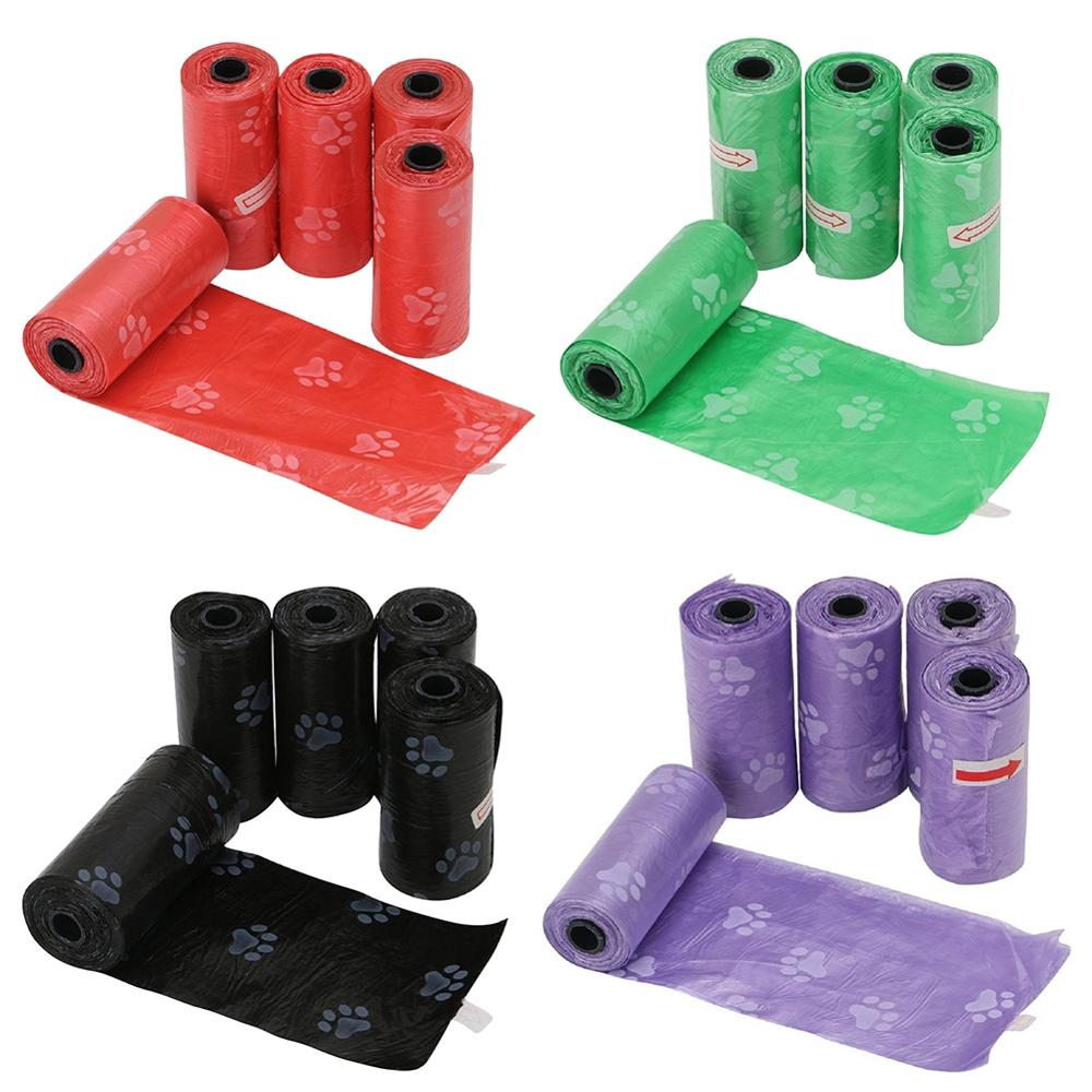 5 Rolls 75Ppcs Dog Poop Bag For Dog Pets Waste Garbage Bags Carrier Biodegradable Clean-up BagWaste Pick Up Clean Bag For Dog Q1