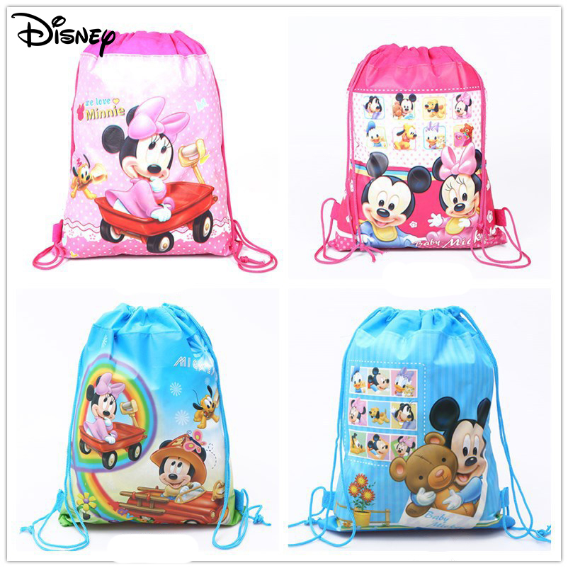 New Mickey Minnie Backpack Pocket Double-sided Non-woven Pocket Printing Drawstring Bag Schoolbag Children Gift Spot