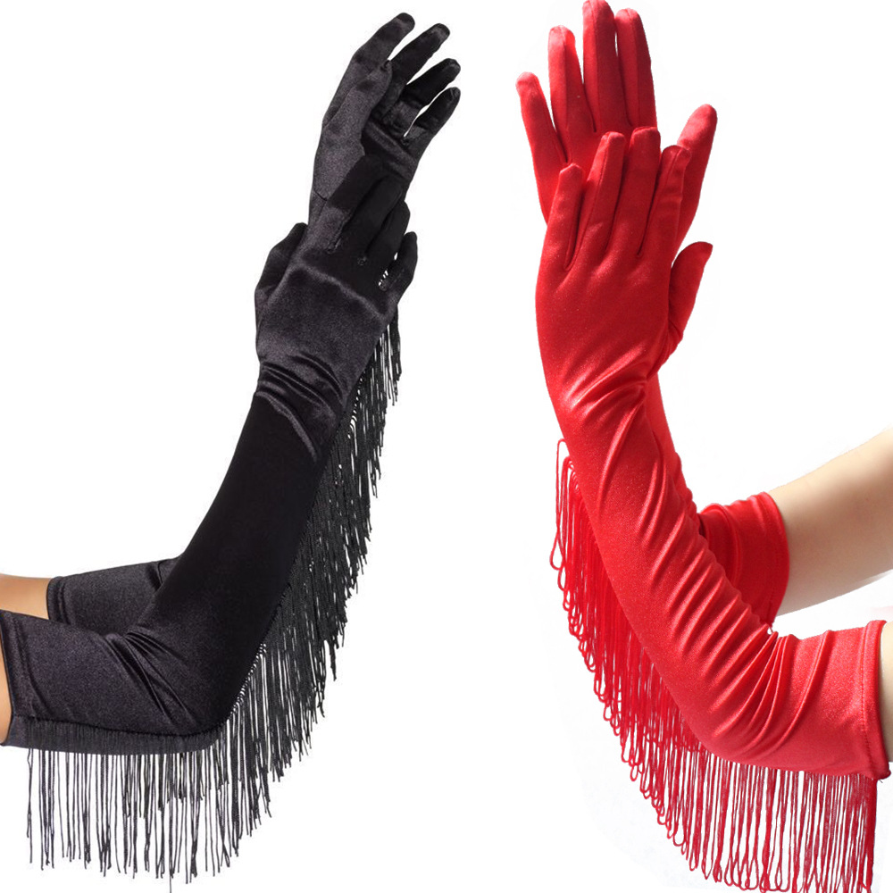 New Spring Autumn Tassel Style Women Long Gloves 49cm Long Dinner Dress Gloves Black Warm Elastic Warm Party Gloves Lady Mittens
