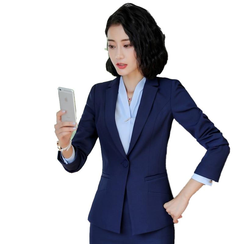 Female Elegant Formal Office Work Wear OL Women Blazers and Jackets Blue Long Sleeve Ladies Clothes Office Uniform Designs Style