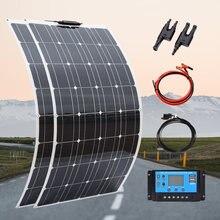 Painel solar flexível 100w 200 portátil 12v carregador de bateria casa kit mono para viagem acampamento pv rv carro barco 1000w sistema china