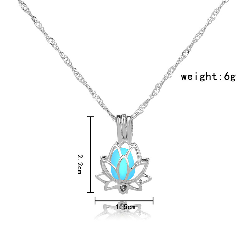 H6ecb8ecd90694ae8b29a50b9c1d266dfC - 3 Colors Glowing In The Dark Lotus Flower Shaped Pendant Necklace Charm Chain Delicacy Necklace Luminous Party Jewelry Women