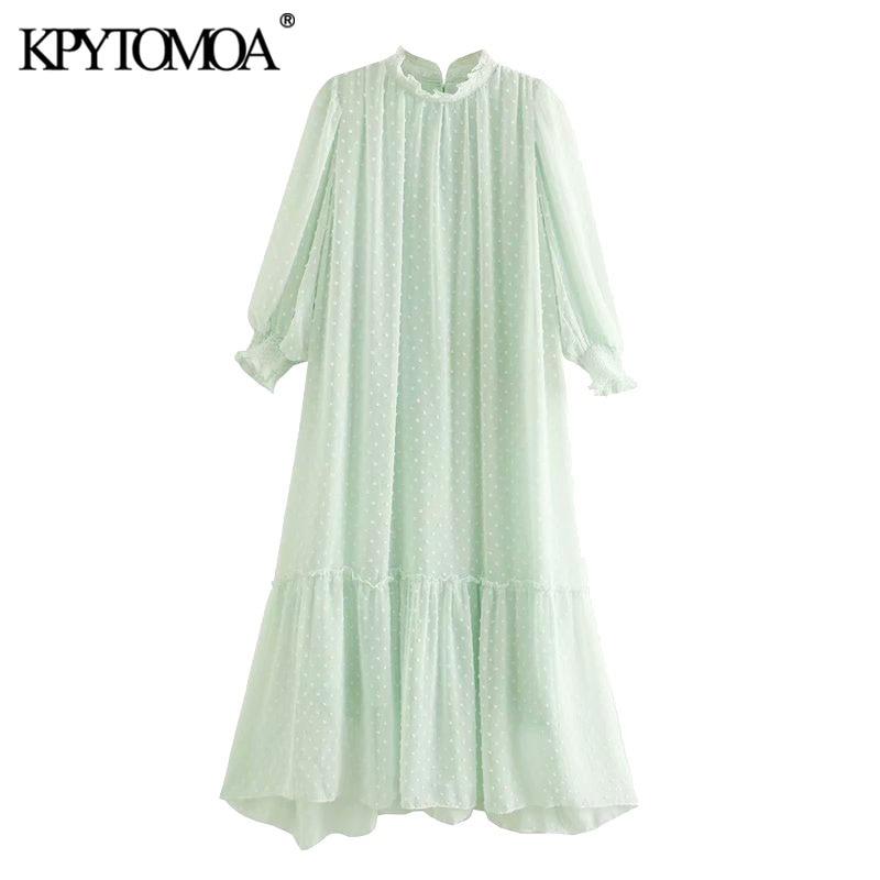 KPYTOMOA Women 2020 Chic Fashion Dot Chiffon Ruffles Midi Dress Vintage High Neck Back Smocked With Lining Female Dresses Mujer