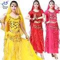 Живота Танцы костюм фестиваль для выступления костюм с пайетками индийские Танцы костюмы для сцены короткий рукав шифоновый костюм