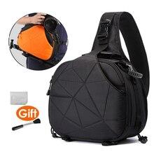 ภาพกล้องสามเหลี่ยมสลิงไหล่ CROSS Body นุ่มผู้ชายผู้หญิงกระเป๋ากันน้ำ W/Rain COVER สีดำกระเป๋าส้มขาตั้งกล้อง