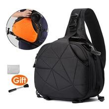 Photo Camera Triangle Sling Shoulder Cross Body Soft Padded Men Women Bag Waterproof w/ Rain Cover Black Orange Bags Tripod Case