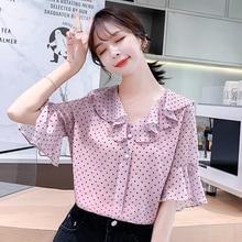 Ruffles Short Sleeve Chiffon Shirt 2019 Summer New Print Dot Blouses Shirts Pink White Feminine Women Tops 81G7