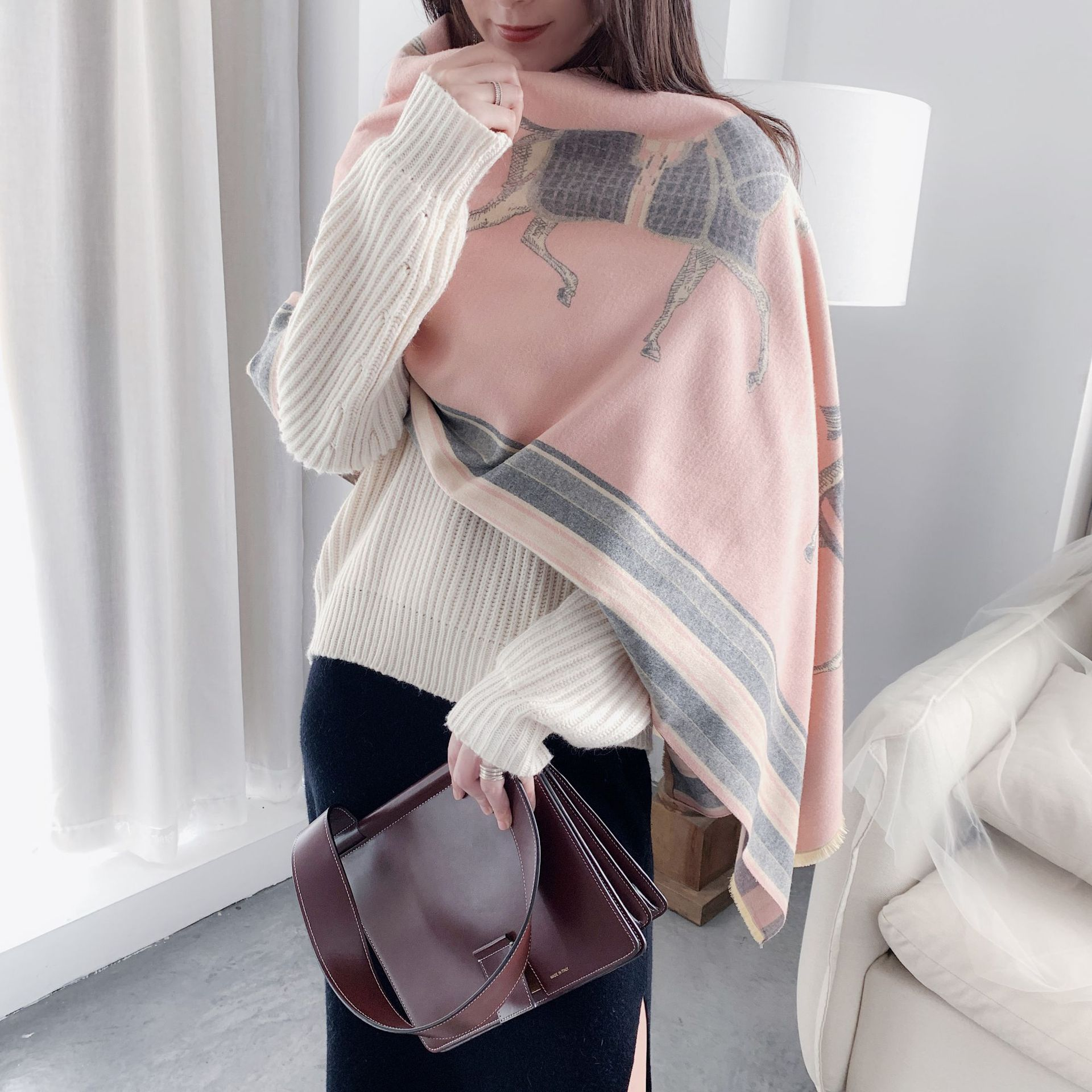 Image 5 - Fashion Winter Scarf Women Cashmere Warm Pashmina Foulard Lady Luxury Horse Scarves Thick Soft Bufanda Shawls Wraps 2019 New-in Women's Scarves from Apparel Accessories