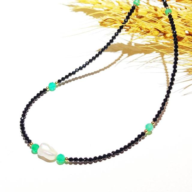 Black Spinels Baroque Pearl Onyx Beads Gold Filled Necklace Popular Bohemian Hawaii Clavicle Jewelry for Women Nice Gift 39 44cm