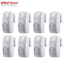 8Pcs Wolf-Guard Wireless PIR Motion Sensor Detector Useful for Home Security Anti-Theft Alarm System 3G/GSM Host Panel 433MHz