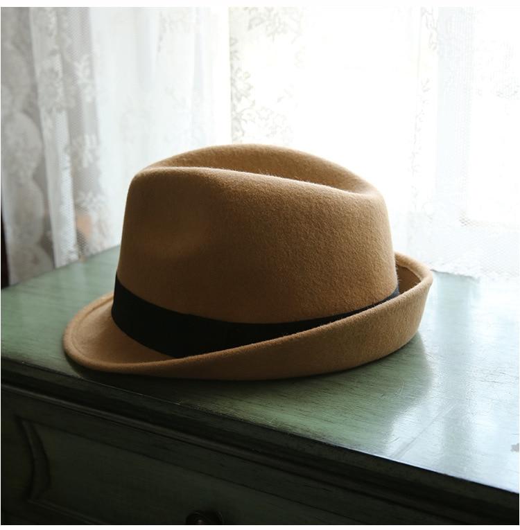 Men 1920s Women Classic Manhattan Structured 100% Australia Wool Michael Jackson Trilby Fedora Hat 56-58cm LM422