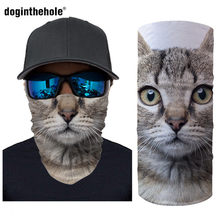 Doginthehole 3D Animal Cat Mouth Print Magic Scarves Funny Breathable Face Masks Cycling Motorcycle Bandanas Girls Neck Buffs(China)