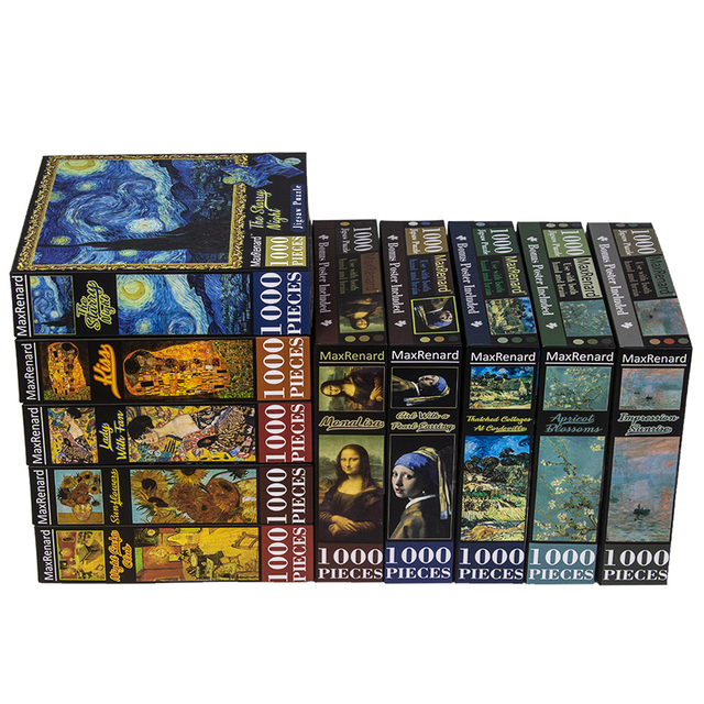 MaxRenard Jigsaw Puzzles 1000 Pieces 50*70cm The Kiss Wooden Assembling Painting World Masterpiece Puzzles Toys for Adults Games 4