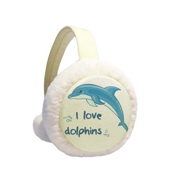 I Love Dolphins Illustrate Winter Earmuffs Ear Warmers Faux Fur Foldable Plush Outdoor Gift