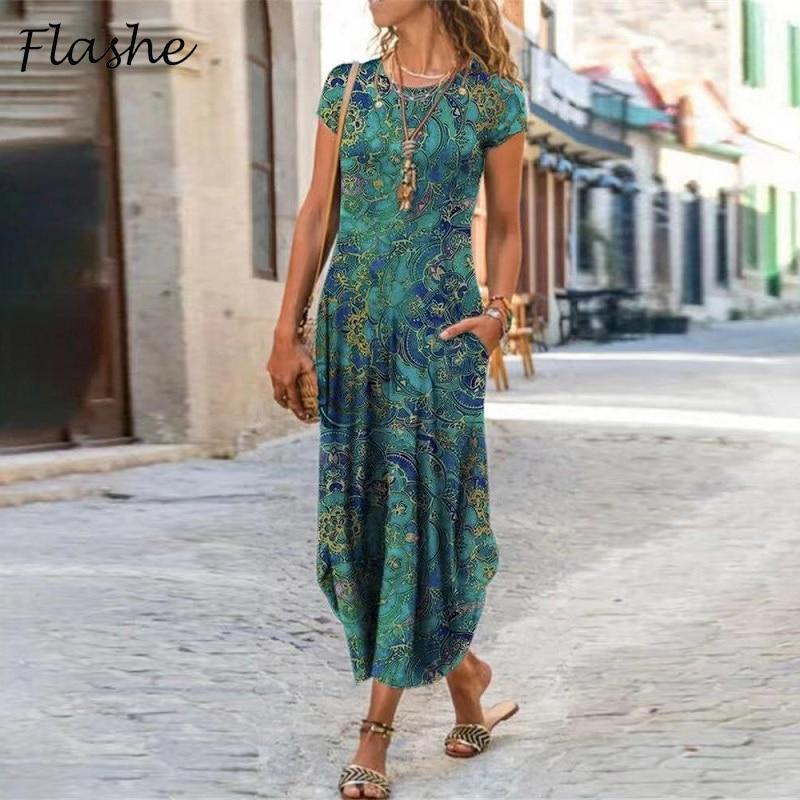 New Vintage Party Dresses For Women Floral Print Short Sleeve Summer Dress Women Plus Size Sundress Pocket Beach Long Dress Boho