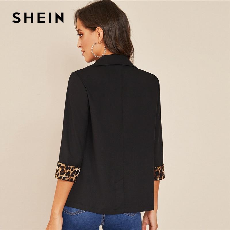 Image 2 - SHEIN Notched Collar Leopard Print Cuffed Sleeve Elegant Blazer  Women 2019 Autumn Roll Up Sleeve Office Ladies Blazer CoatsBlazers   -