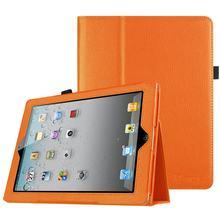 Capa para ipad 4 em couro pu com suporte dobrável, proteção para modelos a1458 a1459 a1460 & 3 casos suporte de lápis