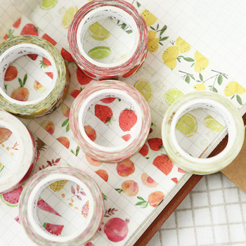 1.5cm * 7m Cute Kawaii Fruit Masking Washi Tape DIY Decorative Adhesive Tape For Scrapbooking Decoration 4cm flower falls kawaii deco adhesive paper floral masking washi tape stickers scrapbooking office decoration cute stationary
