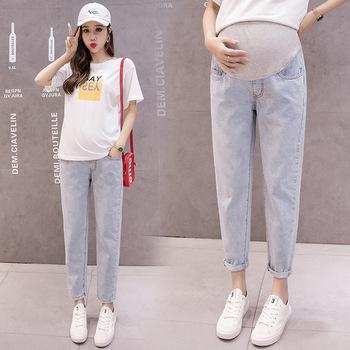 Haren spodnie jeansy ciążowe dla kobiet w ciąży ubrania luźne dorywczo spodnie jeansowe chłopak jeansy ciążowe spodnie odzież tanie i dobre opinie XEIOBB Denim Natural color light COTTON WOMEN Macierzyństwo Elastyczny pas