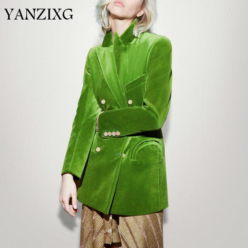 Elegant Women's Blazer Notched Long Sleeve Double Breasted Pocket Large Size Female Suits Autumn Fashion New 2019 L621