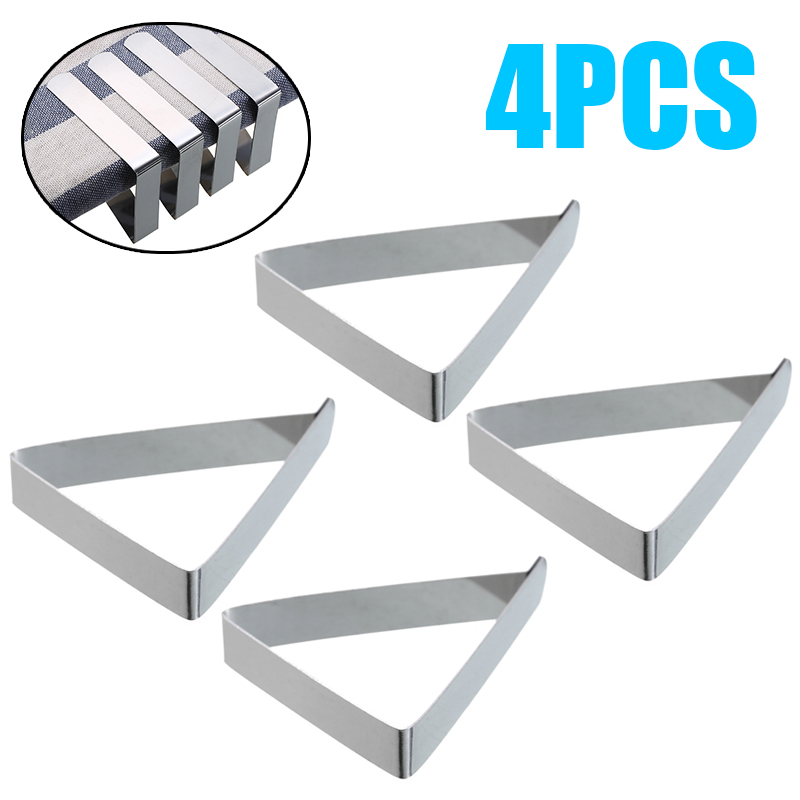4pcs Stainless Steel Tablecloth Tables Cover Clips Holder Tablecloth Clamps Wedding Prom Table Clamp Household Stable Hook Clips